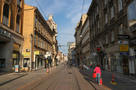 Zagreb, Croatia-April 21st,2020: Zagreb city center during corona virus lock down and after earthquake, with police tracks alerting loose building parts threatening to fall to the ground