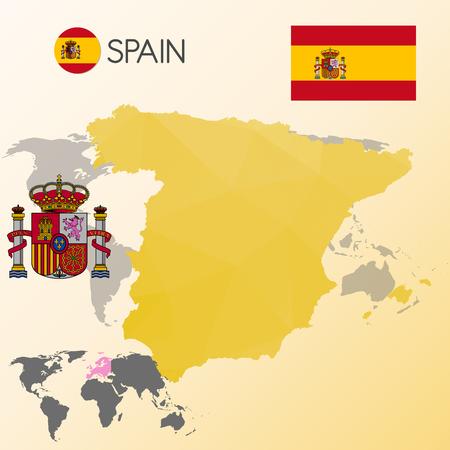 spanish flag: spanish map and flag