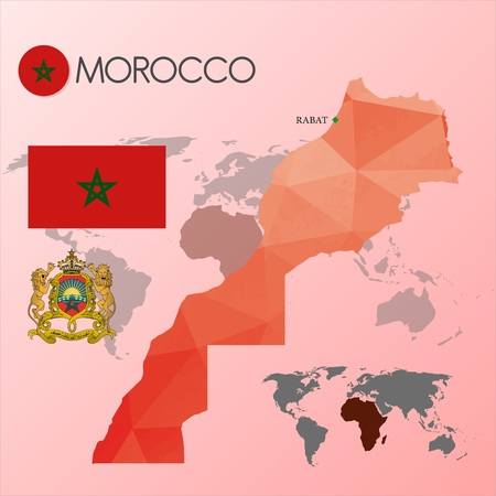 carte: morocco map and flag