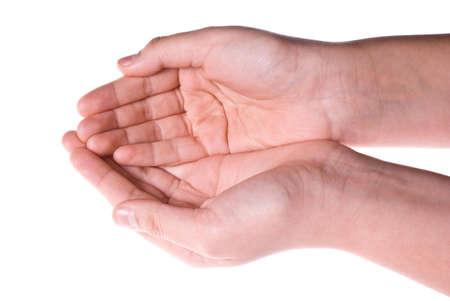 カップ、空に 2 つの手