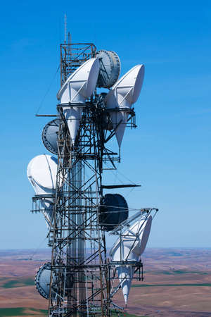 Radio telecommunications tower over rolling hills Stock Photo - 4713788