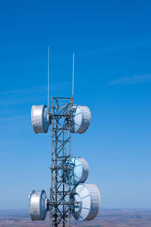 Radio telecommunications tower over rolling hills Stock Photo - 4768746