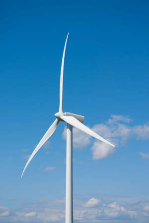 Wind turbine with blades bending under strong wind