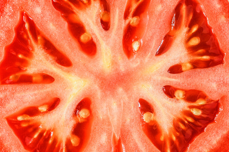 Macro detail of  cutted tomato slice with seeds Foto de archivo
