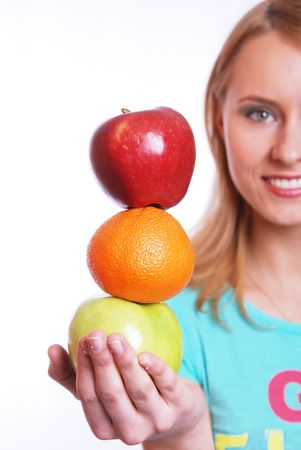 The girl with fruit Stock Photo - 3172521