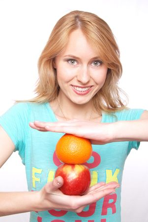 The girl with fruit photo