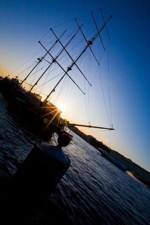 neva: The sailing ship on Neva Stock Photo