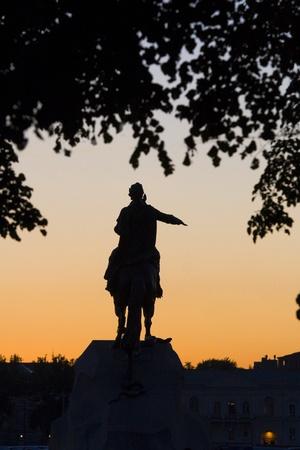 uomo a cavallo: Silhouette il cavaliere di rame