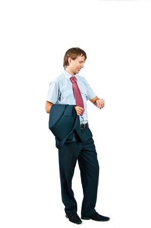 llegar tarde: El hombre de negocios con una chaqueta en manos sobre un fondo blanco