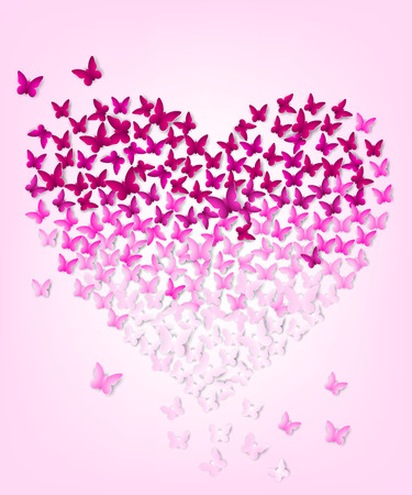 pring: butterflys in the form of heart Illustration