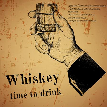 tomando alcohol: Mano que sostiene una bebida alcoh�lica, impresi�n offset