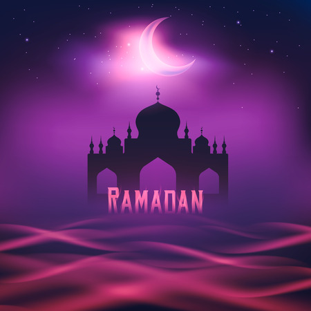 hari raya aidilfitri: Silhouette of  a mosque in the moon night