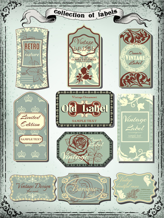 Collection of  color vintage labels for design.Victorian style