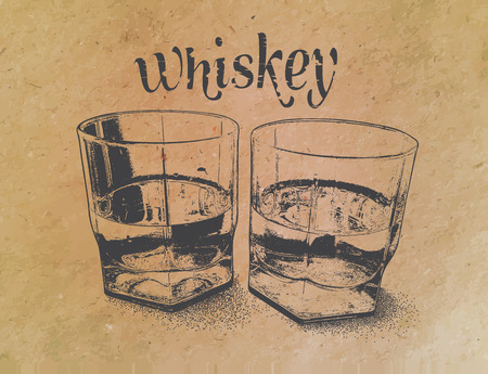 Whiskey in glasses , engraved style,hand drawing Illusztráció
