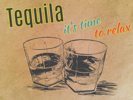 bourbon whisky: Tequila in glasses , engraved style,hand drawing