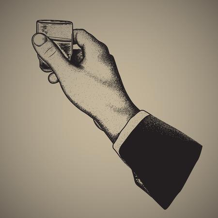 tomando alcohol: Vector sosteniendo una bebida alcohólica, dibujo a mano, signo de la mano compensado estilo printing.engraving