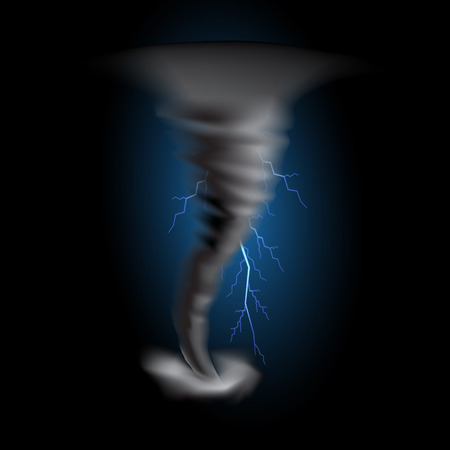 force of the wind: Tornado with lightnings on black background for design