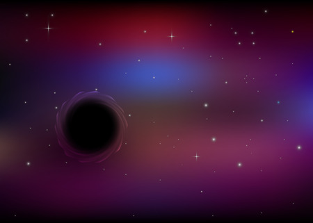 open hole: black hole in open space with stars Illustration