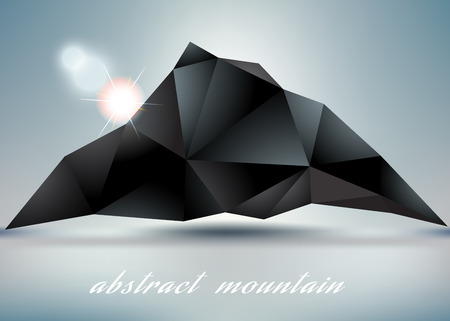 hillock: abstract mountain backgrond  with sun for abstract design