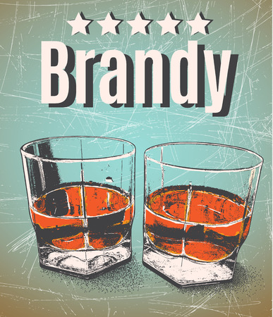 brandy: Brandy in glasses on grunge background.Retro style.Premium quality-five stars Illustration