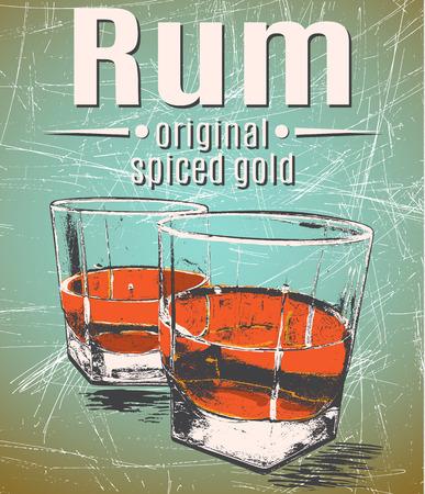 tomando alcohol: Ron en vidrios en grunge cartel background.Retro style.vintage