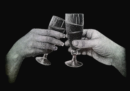 engraving: Two hands holding glasses of champagne.Real engraving on the polished granite