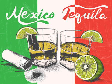 Tequila in glasses on Mexican flag background.Retro style.Vintage poster 矢量图像