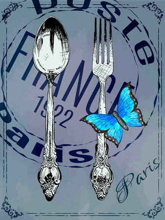 old items: Silver fork and spoon with watercolour butterfly on paper background