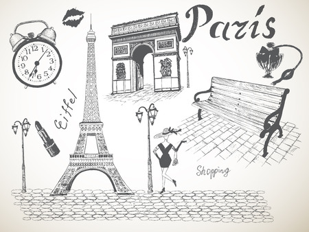 Retro poster of Paris with eiffel tower,Triumphal Arch and other objects