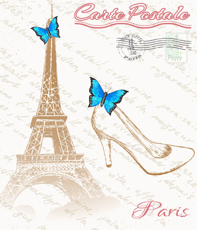 Retro Poster Of Paris.Eiffel Tower With Shoe Fnd Butterfly Royalty ...