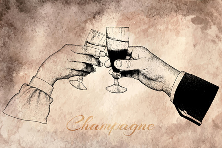 drunkard: Two hands holding glasses of champagne.offset printing desig.On old vintage background with text -Chmpagne Illustration
