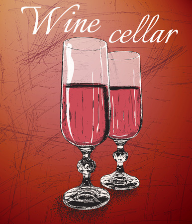 wine  shabby: Two wineglasses on shabby background with text-wine cellar.Vintage style