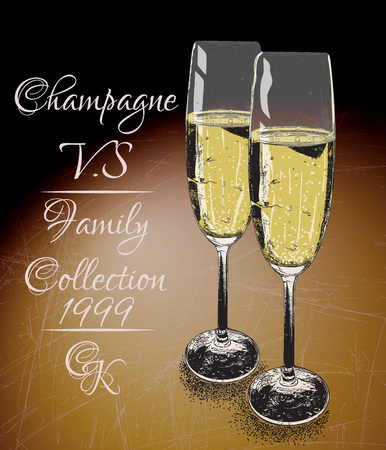 bocal: Two glasses  of  champagne on shabby background with text-family collection..Vintage style