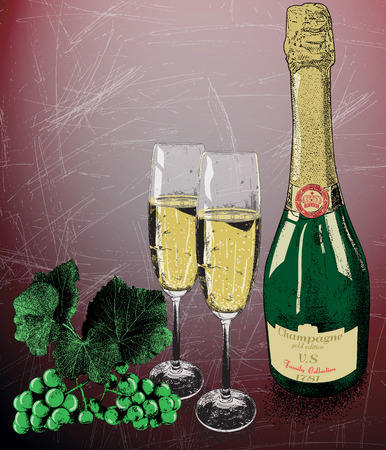 wine  shabby: Two glasses of champagne and bottle of wine and vine grapes on shabby background.Vintage style Illustration