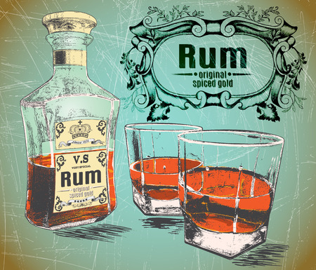 alcohol: Rum was pour in two glasses with bottle on shabby background.With vintage victorian frame and text Rum-original,spiced gold.Retro design