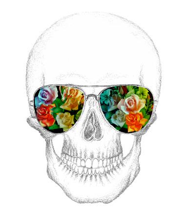 calavera: Cr�neo del humano con anteojos. Rosas colocadas en eyeglasses.Pencil drawing.Vector ilustraci�n