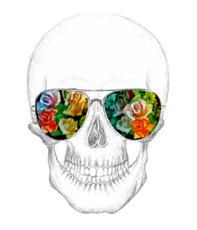 fear: Skull of human with eyeglasses. Roses placed in eyeglasses.Pencil drawing.Vector illustration