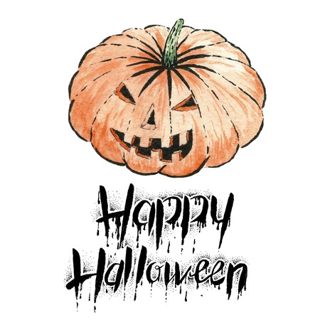 cucurbit: The pumpkin with text -Happy Halloween.Watercolor illustration.Hand drawing Stock Photo