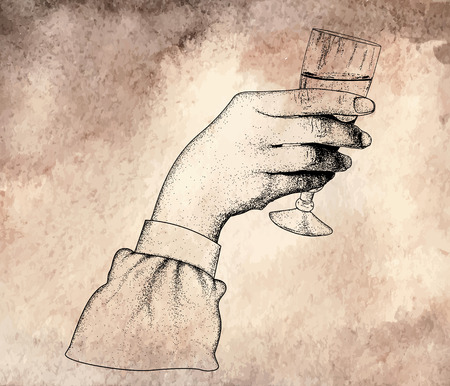champagne glasses: The womans hand holding glasses of champagne.offset printing desig.On old vintage background