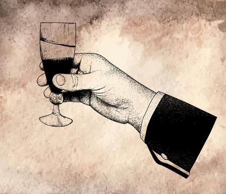 The mans hand holding glasses of champagne.offset printing desig.On old vintage background Çizim
