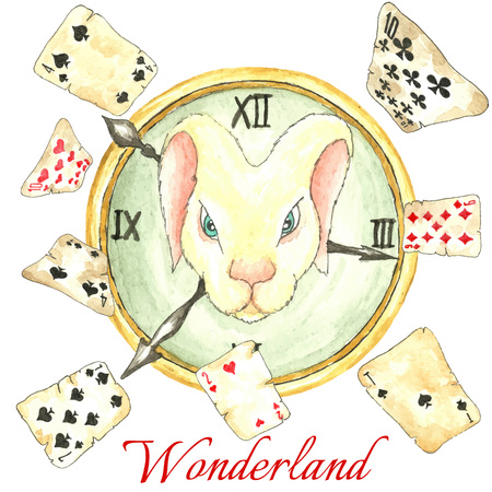 paiting: Watercolor fairy tale  vector illustration. Hand drawn vintage art work with white rabbit on the clock and old playing cards