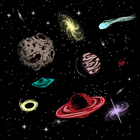pensil: Vector colored illustration of universe with ufo,galaxy,asteroids,planets,black hole,quasar,comet.Hand drawn style
