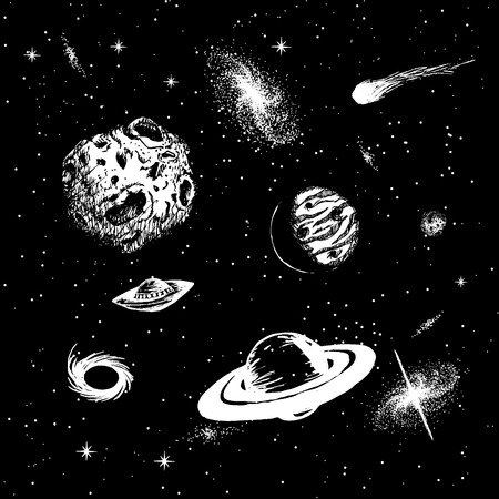 Vector colorless illustration of universe with ufo,galaxy,asteroids,planets,black hole,quasar,comet.Hand drawn style