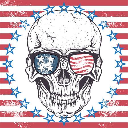 calaveras: De cráneo humano con gafas de sol en el resumen de la ilustración EE.UU. flag.Vector Vectores