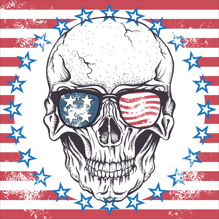 demon: Skull of human with sunglasses on the abstract USA flag.Vector illustration