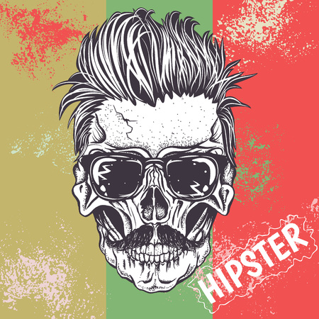 monster tattoo: Hipster skull of human with sunglasses.Vector illustration Illustration