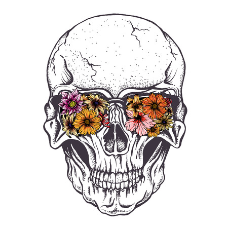Skull of human with  flowers on eyeglasses.Vector illustration.Hand drawn style