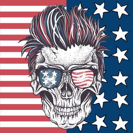 Skull of human with sunglasses on the abstract USA flag.Vector illustration