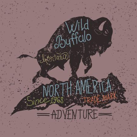 Vintage label of  the wild buffalo .Grunge effect Illustration