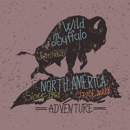 Vintage label of the wild buffalo .Grunge effect